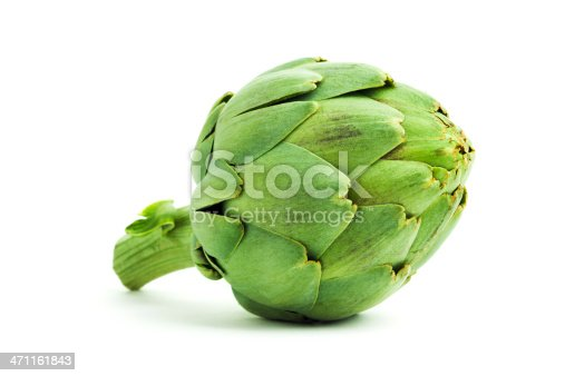 An artichoke, a fresh, raw, green vegetable with an edible heart. The food may be grown organically in a garden or on a commercial farm for healthy eating. The grocery is an ingredient of gourmet or vegetarian meals. Cut out and isolated on white, with soft shadows to add dimension.