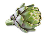 Ripe green artichoke isolated on white background