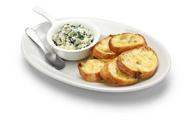artichoke spinach dip, healthy vegetarian food stock photo