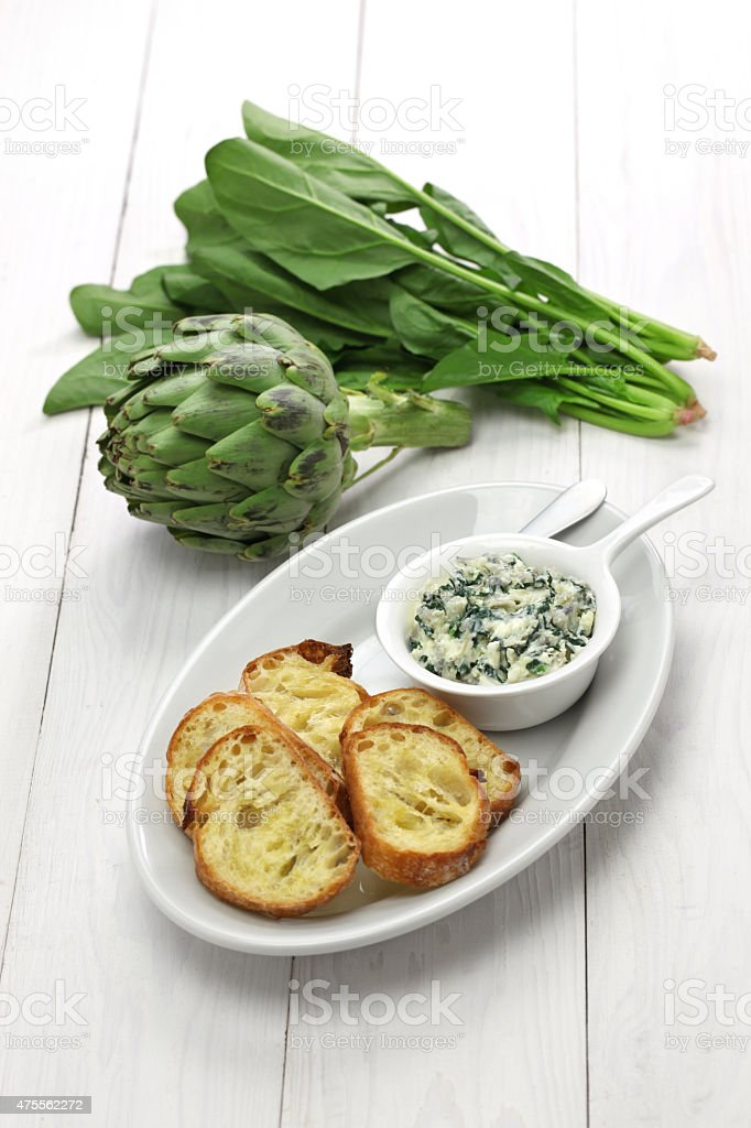 artichoke spinach dip stock photo