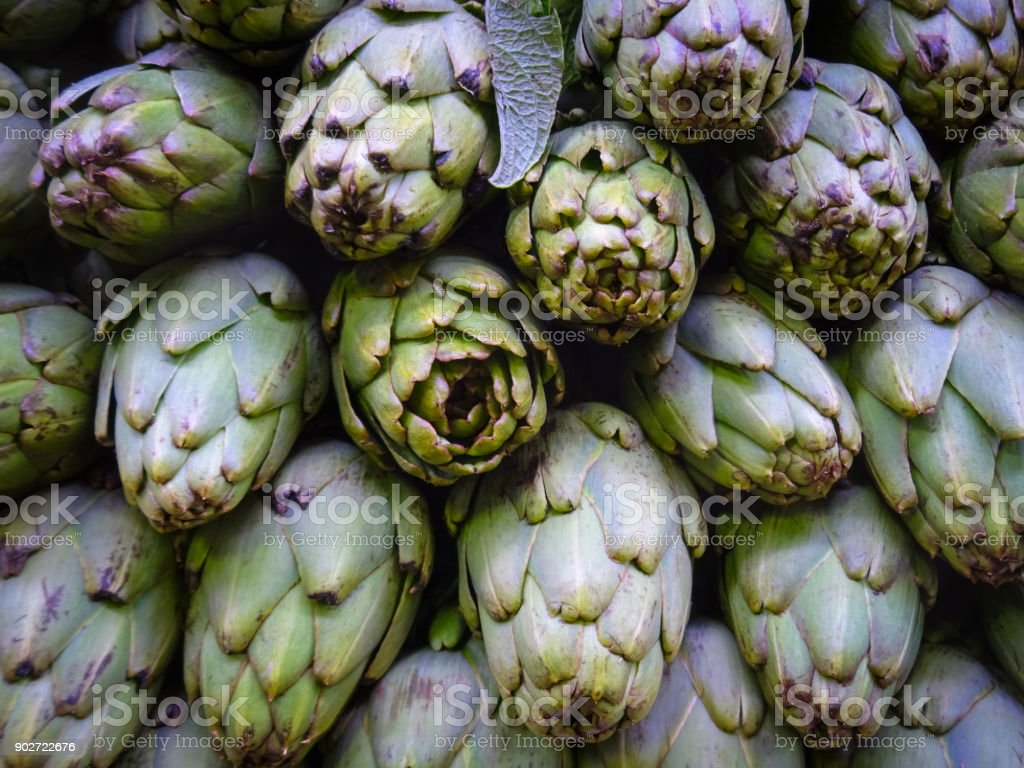 artichoke - Vegetable background with fresh artichokes stock photo