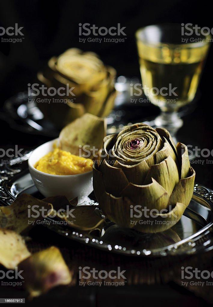Artichoke with Homemade Aioli royalty-free stock photo