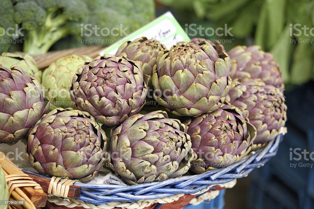 Artichokes at a farmers market royalty-free stock photo