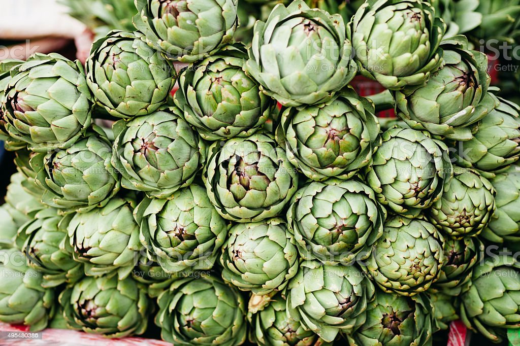 artichokes green market stock photo