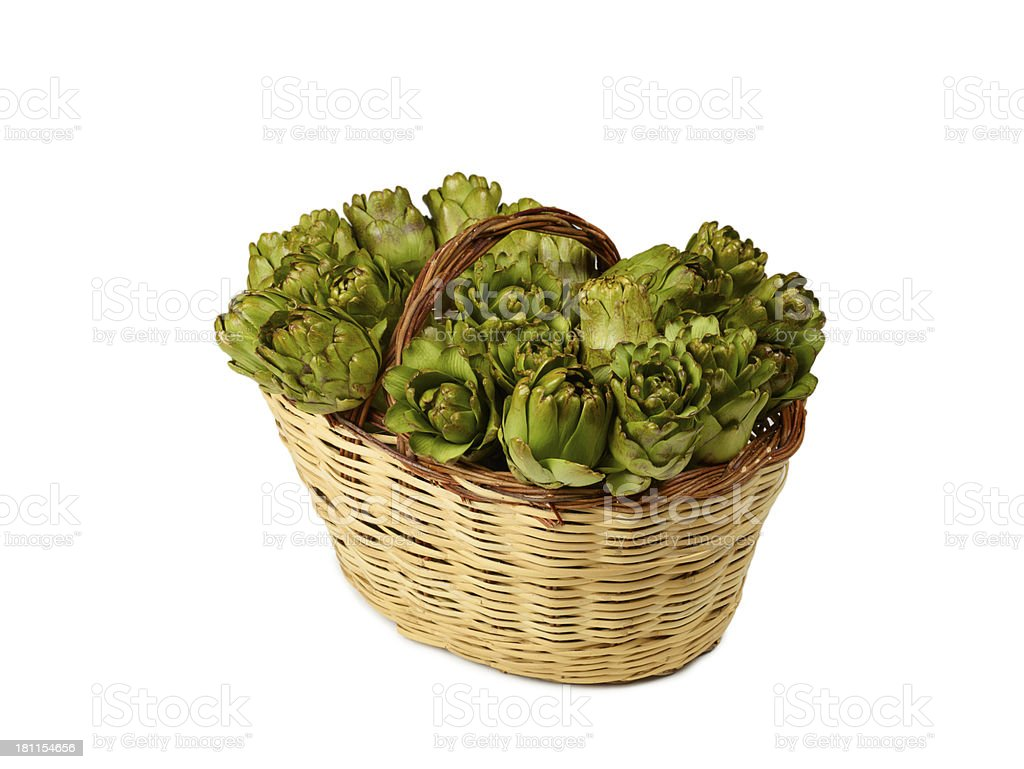 Artichokes In A Basket royalty-free stock photo