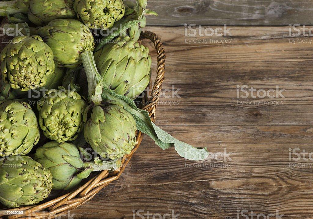 artichokes in the basket stock photo