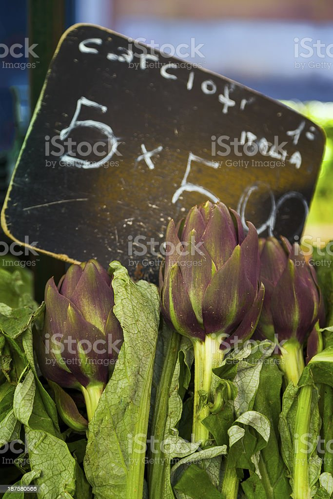 Artichokes on Sale at a Local Market stock photo