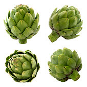 Close-up and detailed shots of fresh artichokes from various angles.