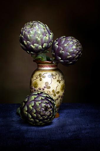 Artichokes in a flower pot