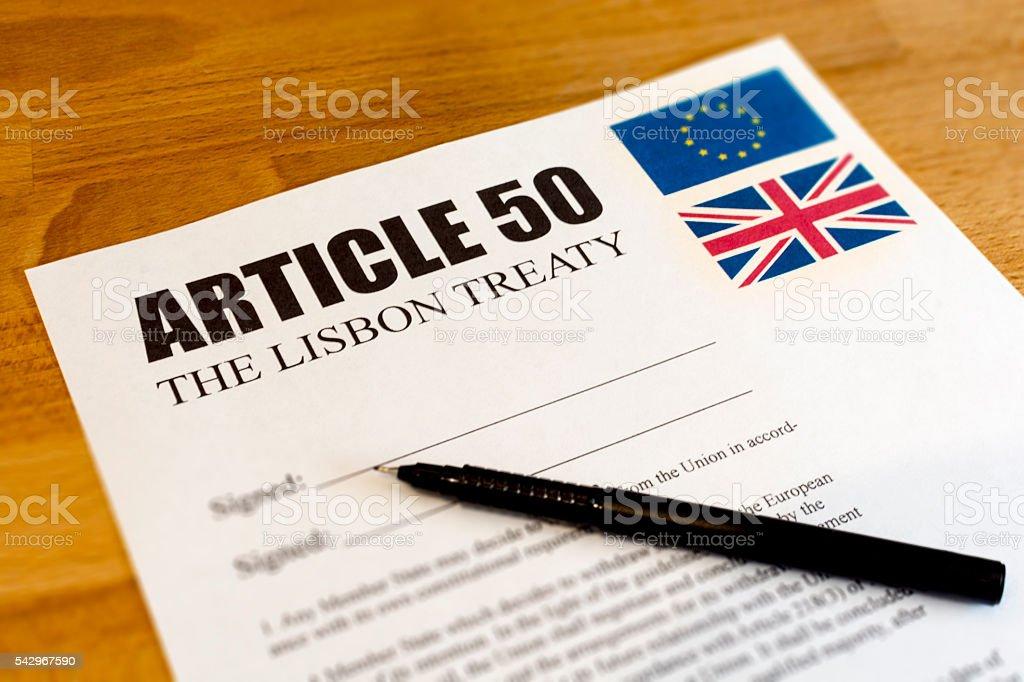 L'articolo 50 Brexit - foto stock