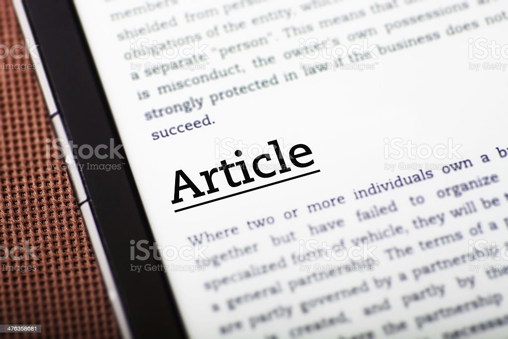 Article on tablet screen, ebook concept royalty-free stock photo