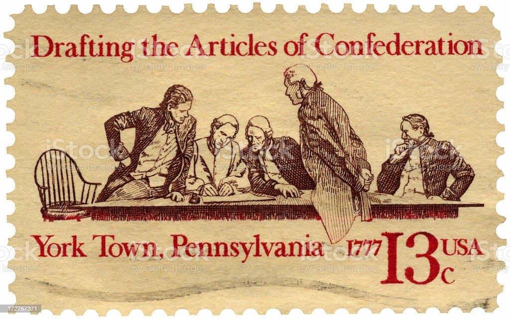 Articles of Confederation First USA Constitution Postage Stamp stock photo