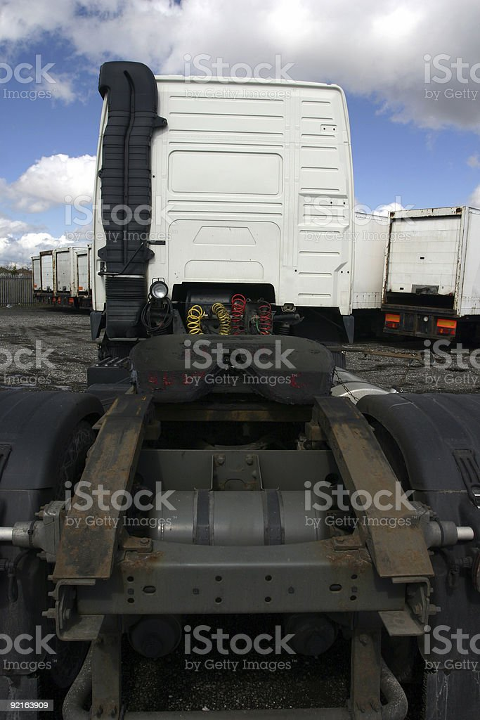 articulate lorry truck cab and hook up stock photo