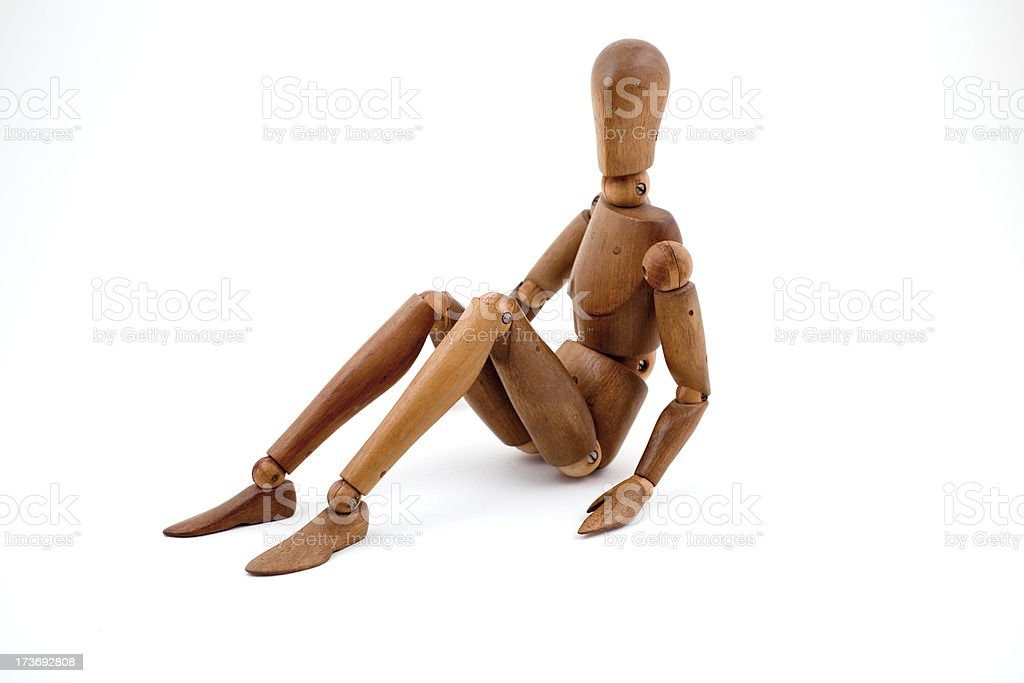 Articulated detailed carved  wooden anatomical model for artists. royalty-free stock photo