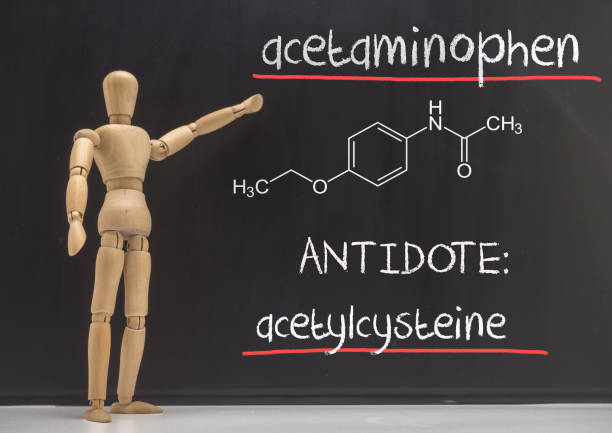 Articulated doll teaches in a slate the paracetamol poisoning in blood, the antidote is the acetylcysteine, conceptual image Articulated doll teaches in a slate the paracetamol poisoning in blood, the antidote is the acetylcysteine, conceptual image antipyretic stock pictures, royalty-free photos & images
