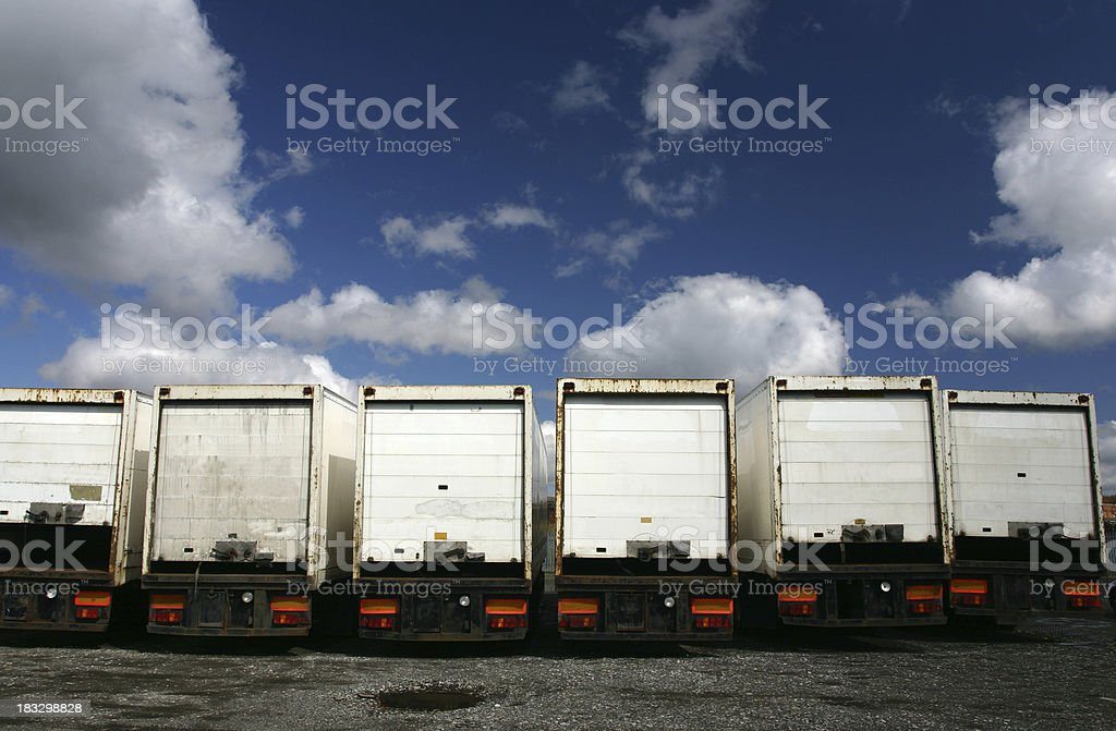 articulated lorry truck trailers in park royalty-free stock photo