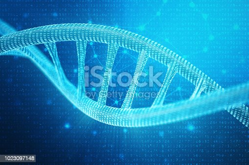 istock Artifical intelegence DNA molecule. Concept binary code genome. Abstract technology science, concept artifical Dna. 3D illustration 1023097148