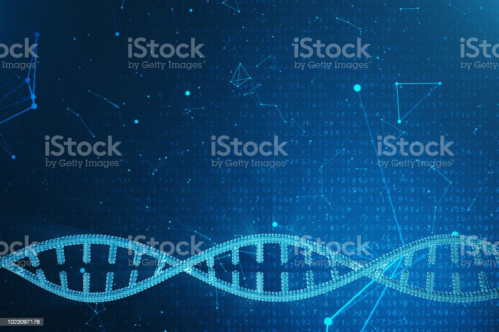 Artifical intelegence DNA molecule. Concept binary code genome. Abstract technology science, concept artifical Dna. 3D illustration stock photo
