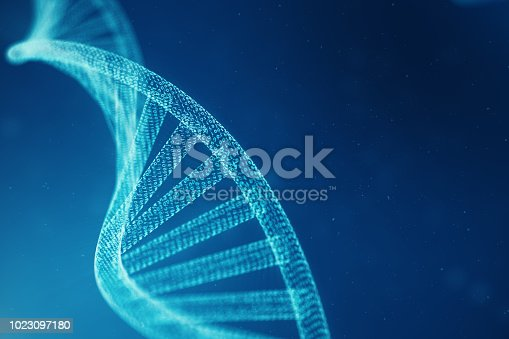 istock Artifical intelegence DNA molecule. Concept binary code genome. Abstract technology science, concept artifical Dna. 3D illustration 1023097180