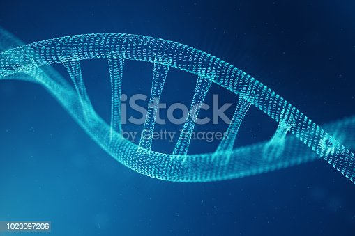 istock Artifical intelegence DNA molecule. Concept binary code genome. Abstract technology science, concept artifical Dna. 3D illustration 1023097206