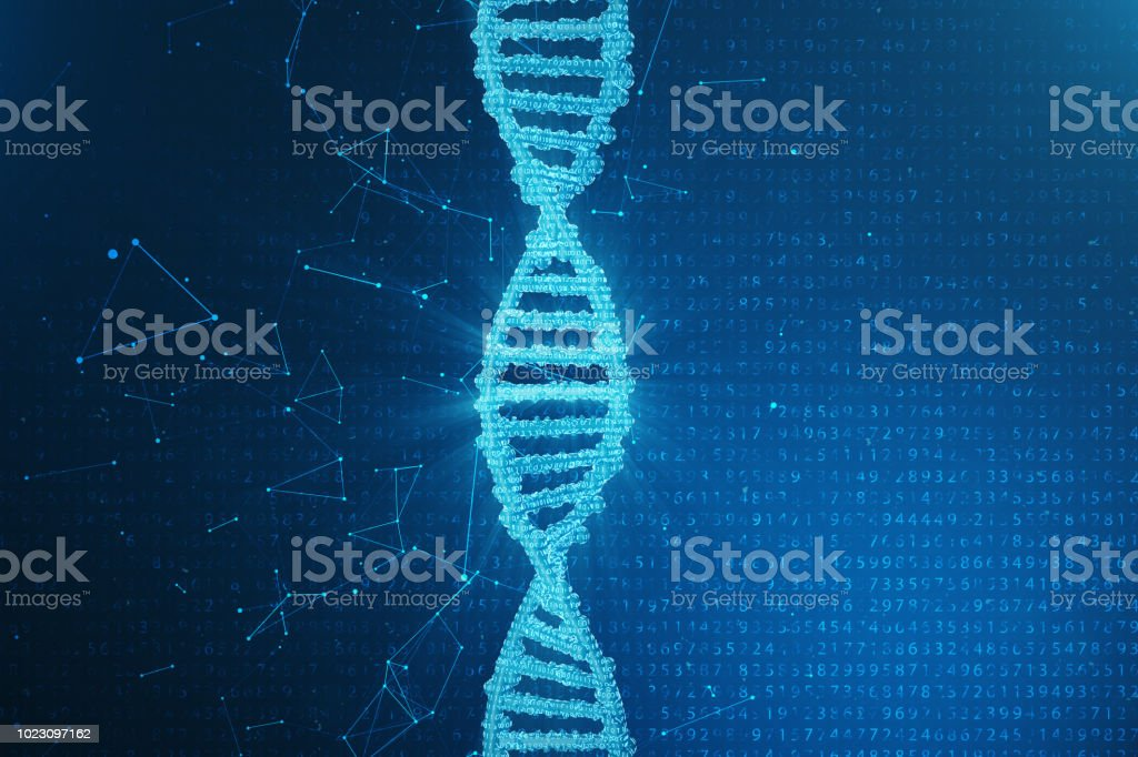 Artifical intelegence DNA molecule. DNA is converted into a binary code. Concept binary code genome. Abstract technology science, concept artifical Dna. 3D illustration stock photo
