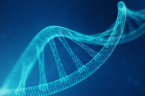 istock Artifical intelegence DNA molecule. DNA is converted into a binary code. Concept binary code genome. Abstract technology science, concept artifical Dna. 3D illustration 1023097184