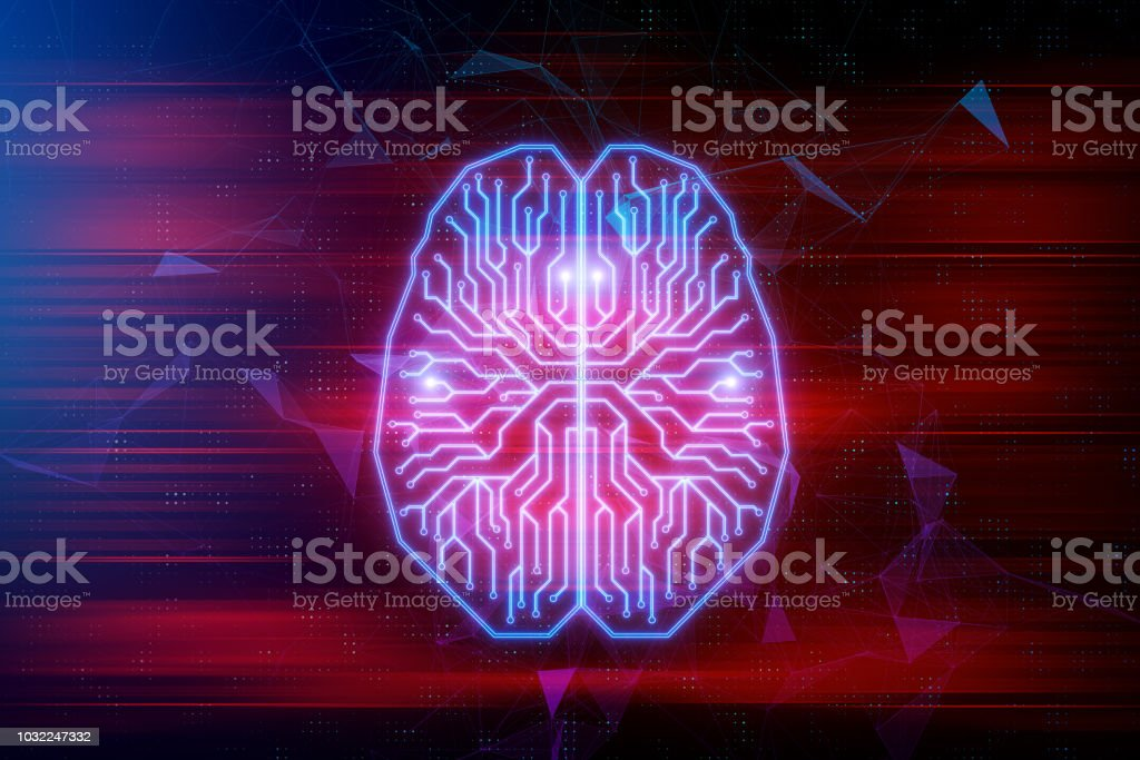 Artifical intelligence and future concept stock photo
