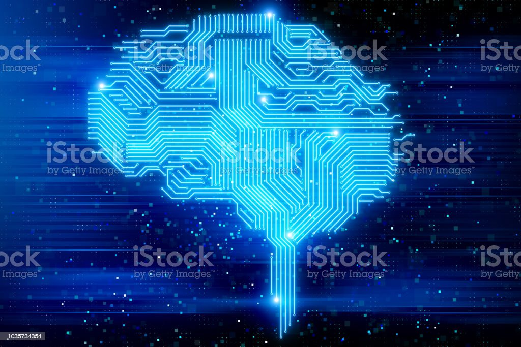 Artifical intelligence and science concept stock photo