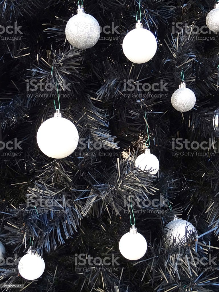 Artificial Black Christmas Tree White Baubles Silverdecorations Christmas Tree Stock Photo Download Image Now Istock