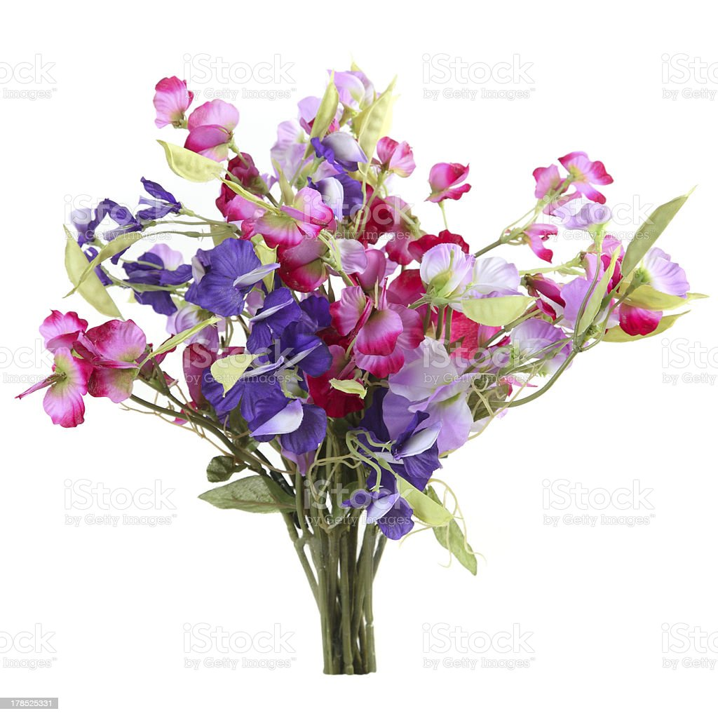 Artificial bouquet of sweet peas royalty-free stock photo