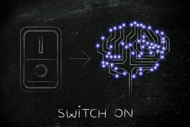 artificial brain with switch turned on stock photo