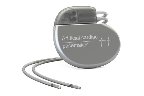 Artificial cardiac pacemaker, 3D rendering isolated on white background Artificial cardiac pacemaker, 3D rendering isolated on white background pacemaker stock pictures, royalty-free photos & images