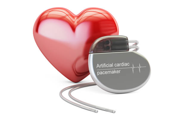 Artificial cardiac pacemaker with red heart, 3D rendering isolated on white background Artificial cardiac pacemaker with red heart, 3D rendering isolated on white background pacemaker stock pictures, royalty-free photos & images