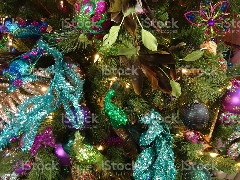 artificial christmas tree green turquoise peacock decorations glitter flowers baubles royalty