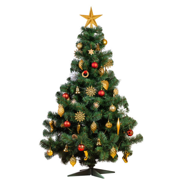 Artificial Christmas tree with beautiful classic vintage decorations Artificial Christmas tree with beautiful classic vintage decorations with garlands, lights and sparkles isolated on white background, studio shot christmas tree stock pictures, royalty-free photos & images
