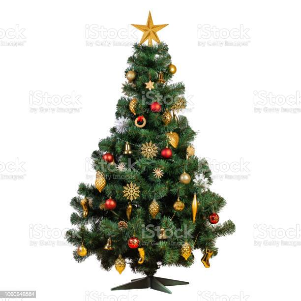 Photo of Artificial Christmas tree with beautiful classic vintage decorations