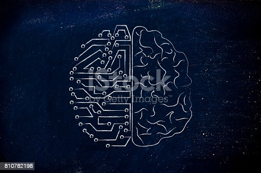 istock artificial circuits and human brain 810782198