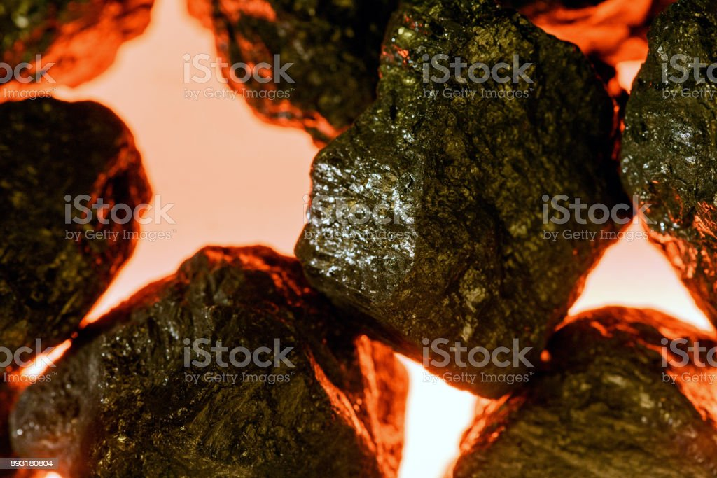 Artificial Coal and Fake Fire stock photo
