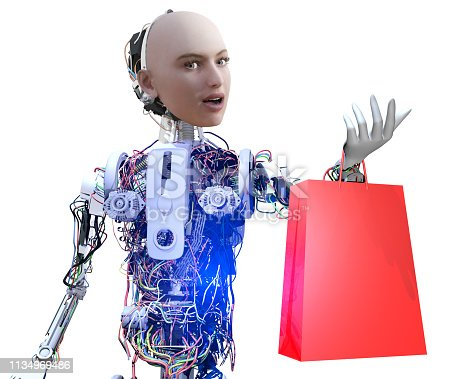 New consumption mass: Robots. 3D supermarket bag and cute robot on white background.