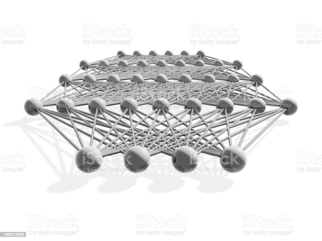Artificial deep neural network structure, gray stock photo