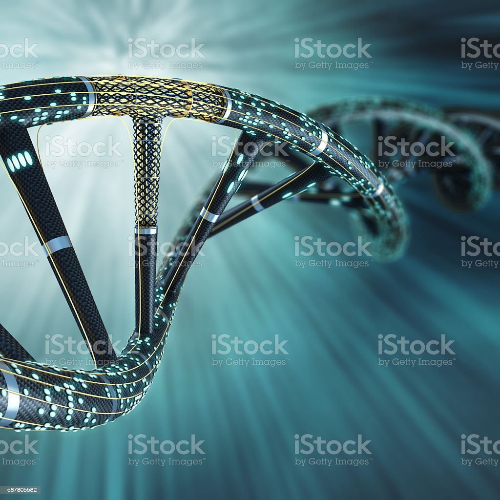 Artificial DNA molecule, the concept of artificial intelligence, foto stock royalty-free