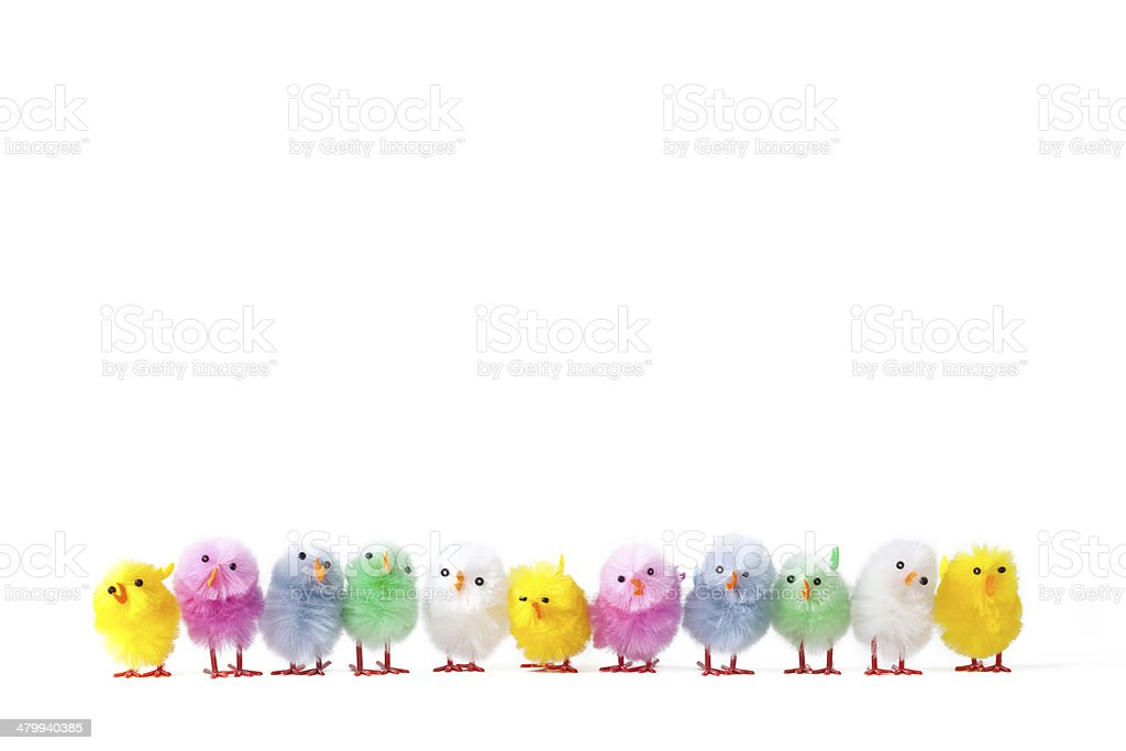 Artificial Easter Chicks stock photo