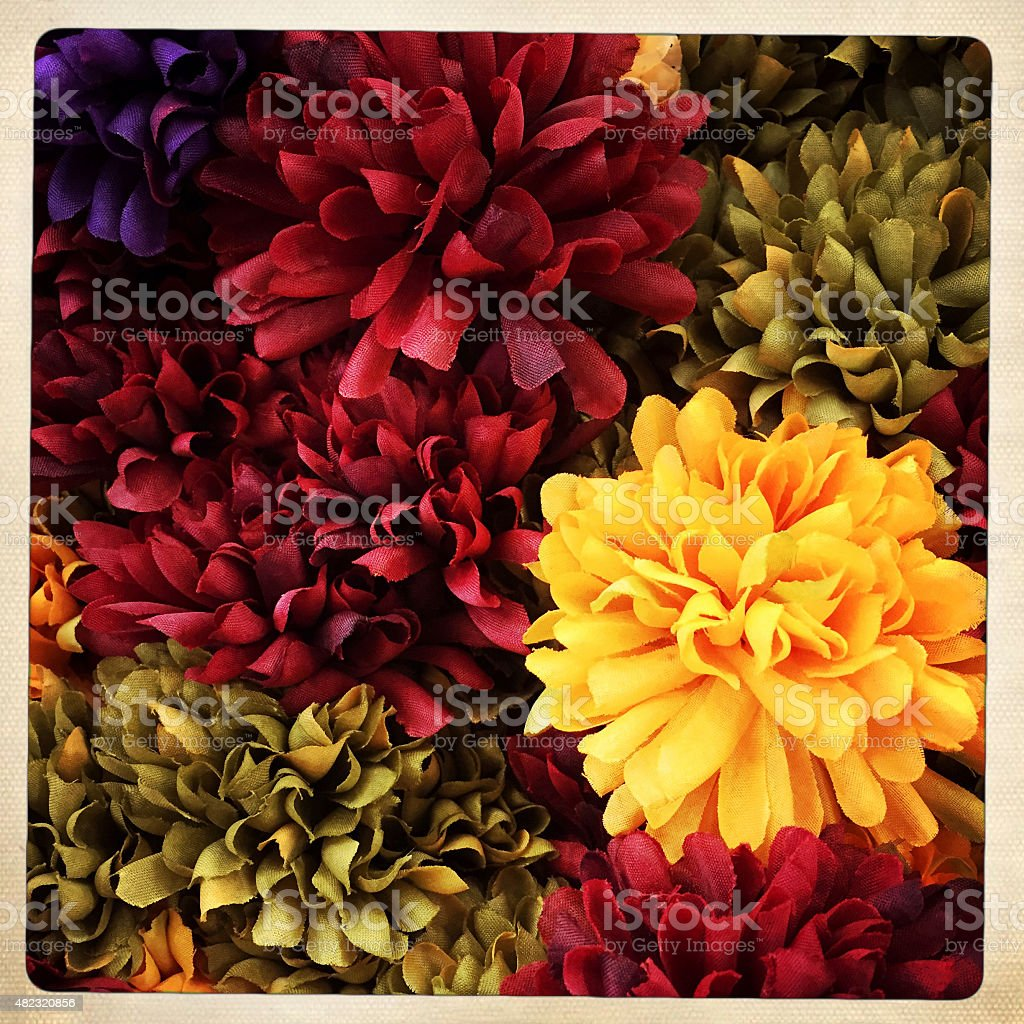 Artificial Fall Color Flowers stock photo