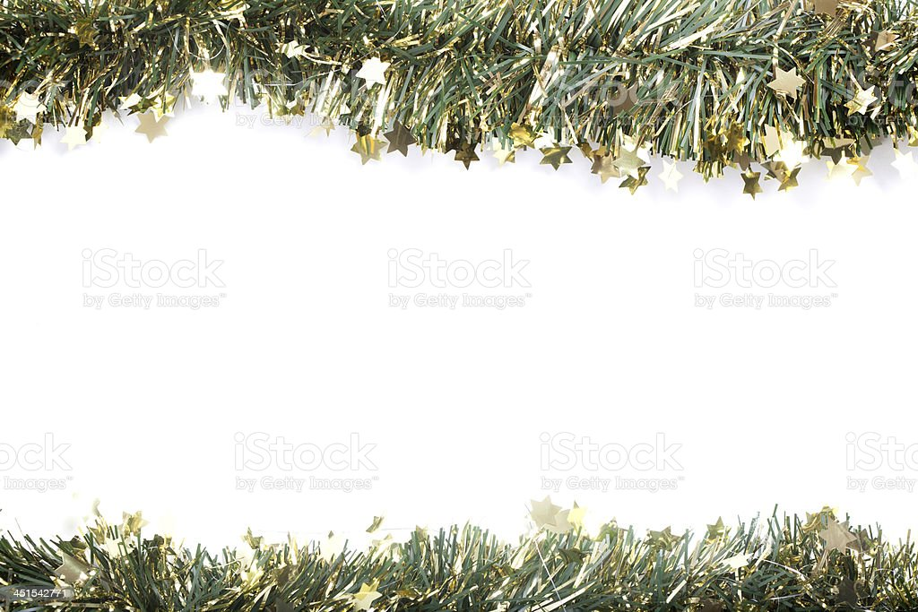 Artificial fir branch garland with tinsel royalty-free stock photo