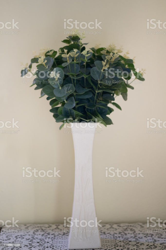 Artificial Flower Vase Decoration In Modern Living Room Modern Living Room Interior Design With Artificial Plants In Flowerpots Stock Photo - Download Image Now - IStock