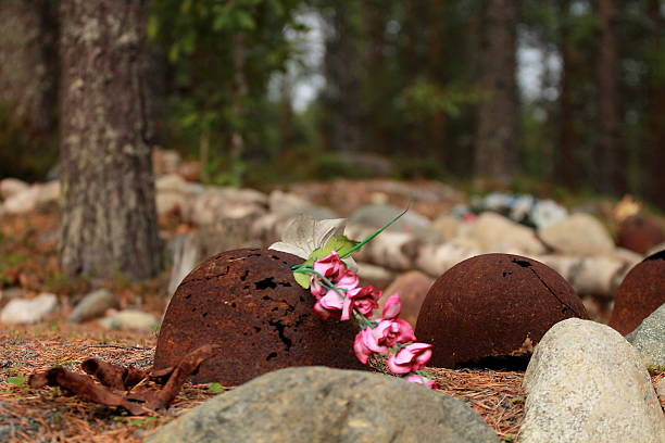 Artificial Flowers and Unearthed WWII Helmets stock photo