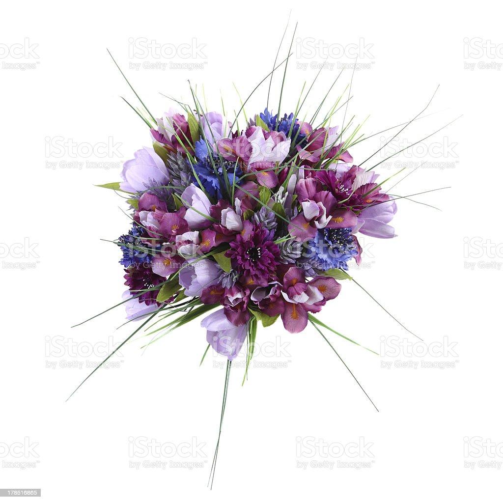 artificial flowers Siberian iris, crocus, cornflower, gomfrena royalty-free stock photo