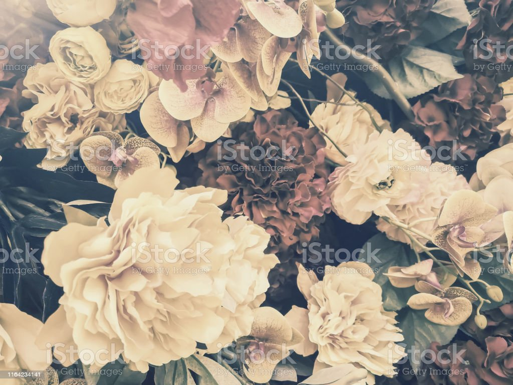 Artificial Flowers Wall Background With Vintage Style Stock Photo Download Image Now Istock