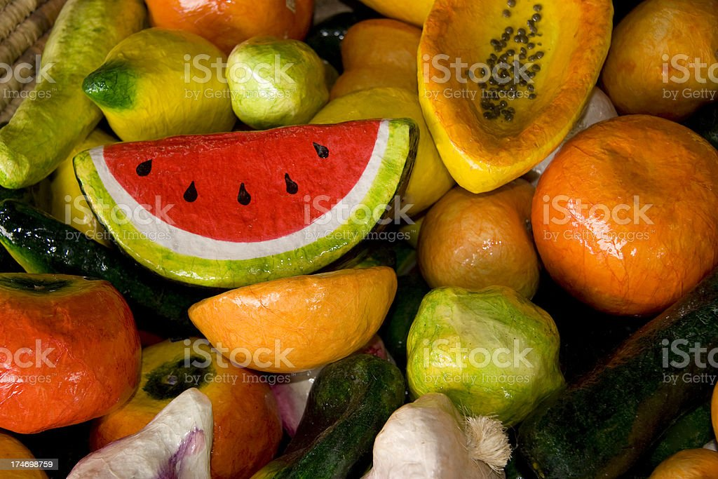 Artificial Fruit and Vegetables in Basket, Colorful Background royalty-free stock photo