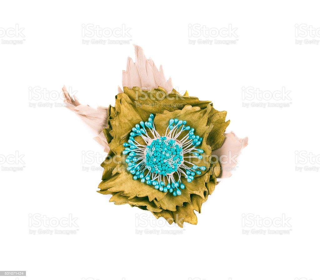 Artificial green flower of silk. stock photo